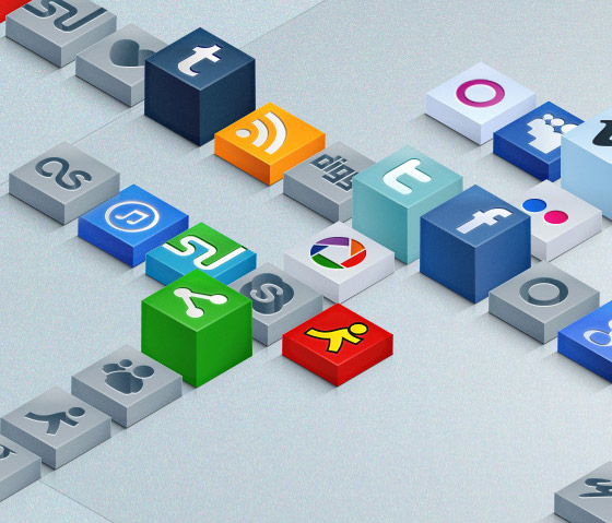 3d sosyal medya ikon seti