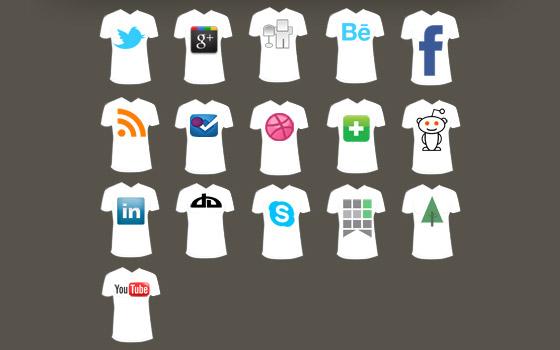 T-shirt sosyal medya ikon seti